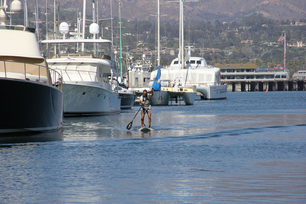 Adam Stand-Up Paddle Boarding in the Santa Barbara Harbor