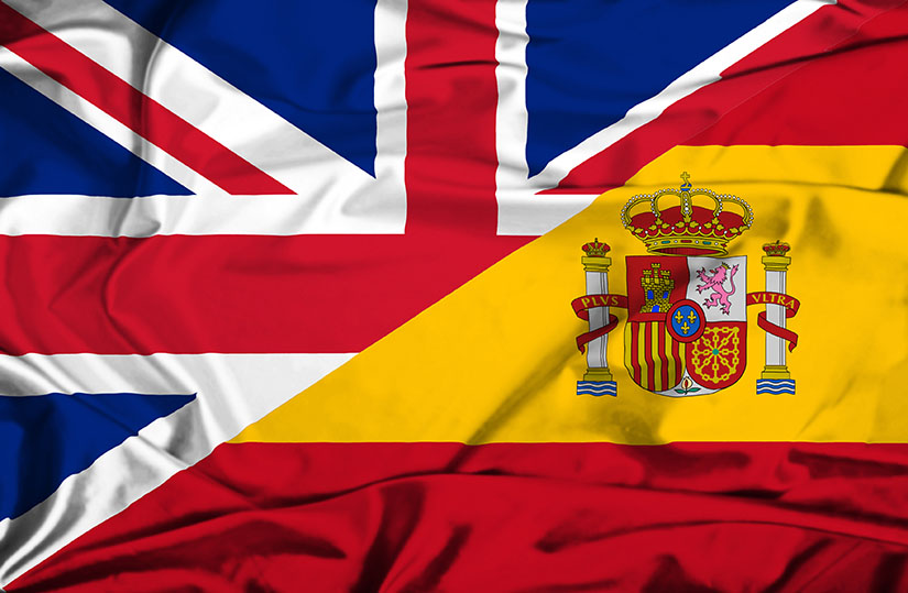 English and Spanish flags. We speak both languages fluently!