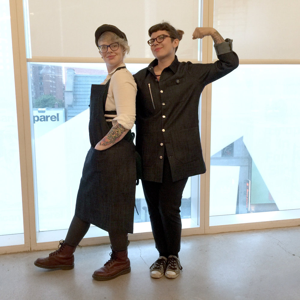 Lindy and Hilary trying on the MakerWear.jpg