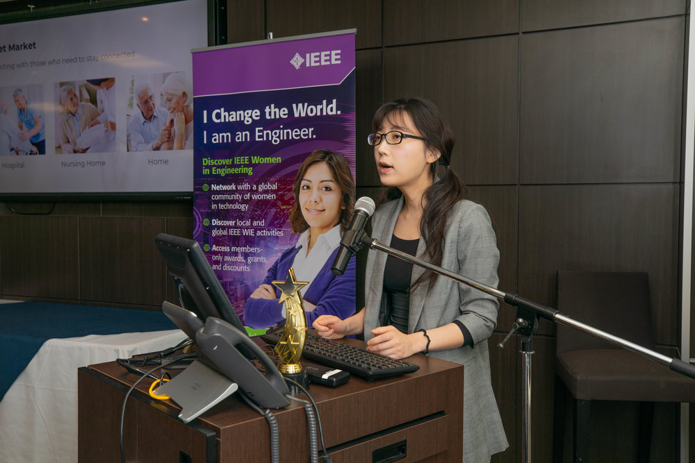 Debbie Wu of Myant, speaking during the IWD2019 Women's Leadership Symposium at Humber College, Toronto.