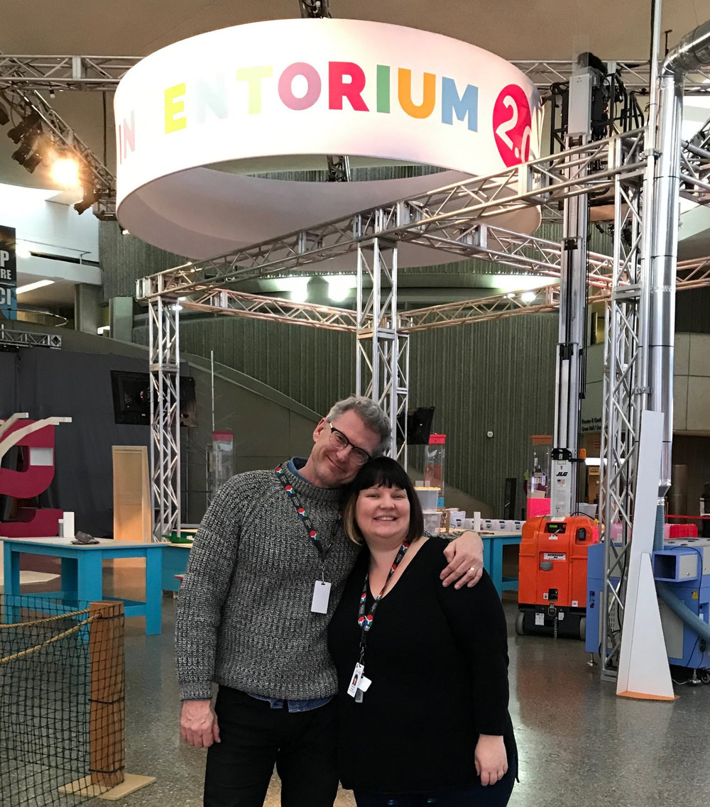 Ontario Science Centre's Director of Science Communication - Kevin Von Appen (left) with Lorrie Ann Smith - Director of Education (right), in front of DGDL's stand at the Maker Place, Inventorium 2.0