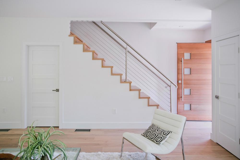 Custom-built Mahogany Door and European White Oak Stairs