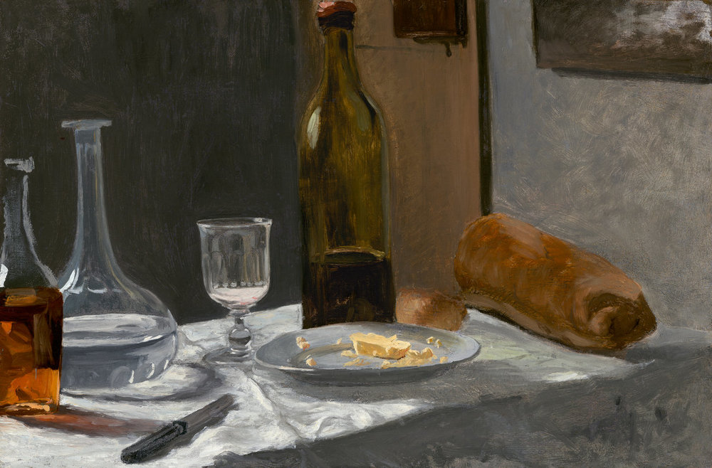 Claude Monet, 1840-1926, Still life w bottle, carafe, bread and wine, c. 1862.1863, oil on canvus, 39.6x59.8 cm.jpg