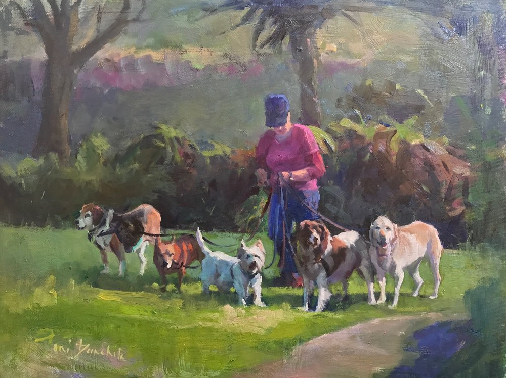 Toni Danchik,  Dog Walke r, oil on canvas, 11x14 in