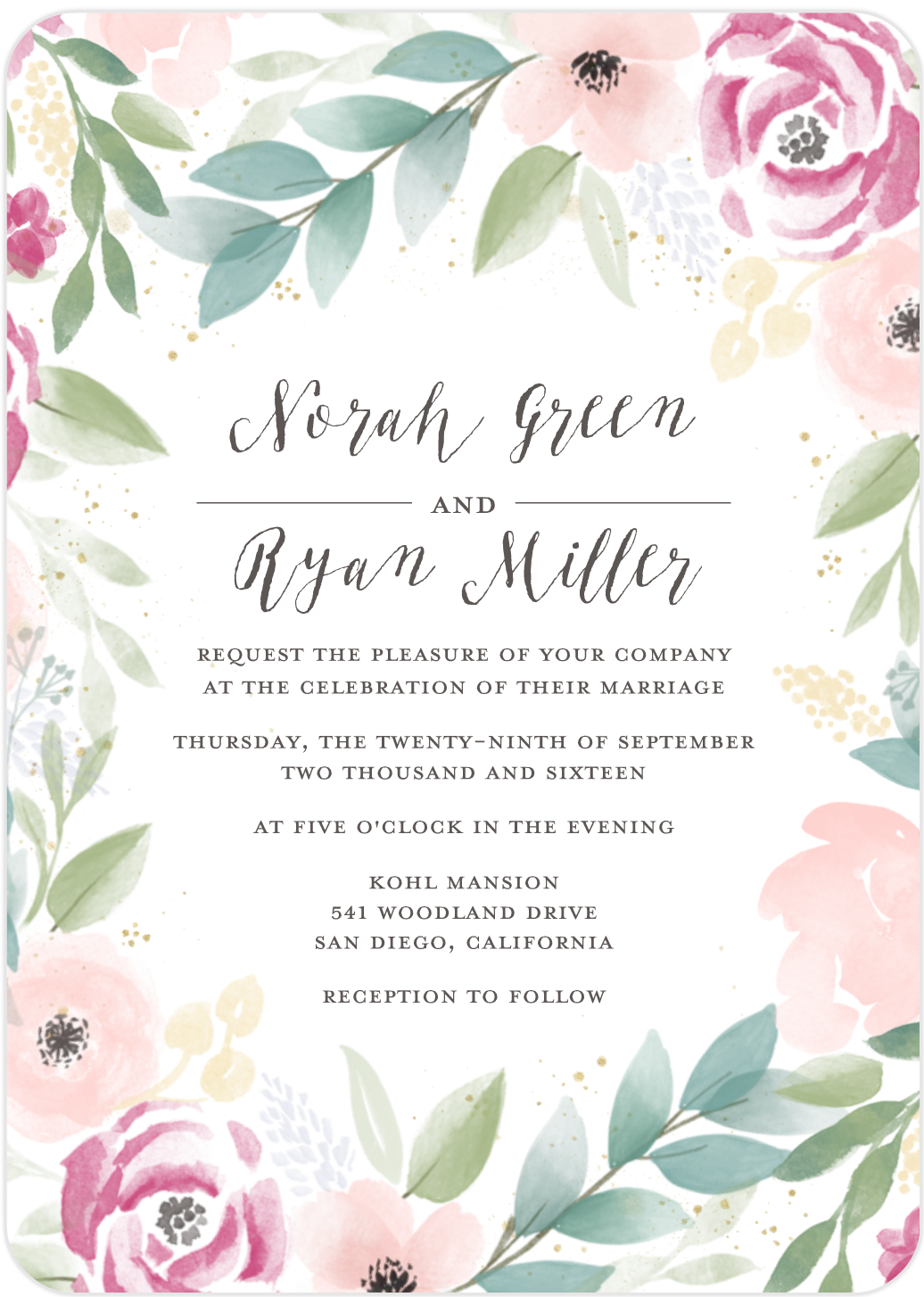 mixbook boho floral wedding invitation
