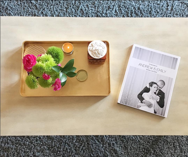 coffee table photo book display mixbook wedding album
