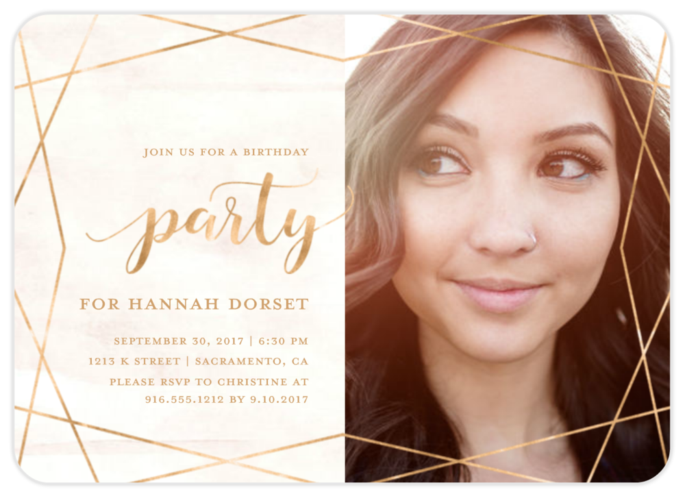geometric modern birthday invitation girl