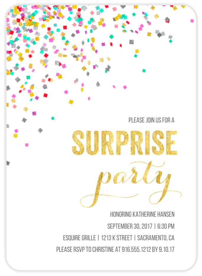 surprise birthday confetti card invitation