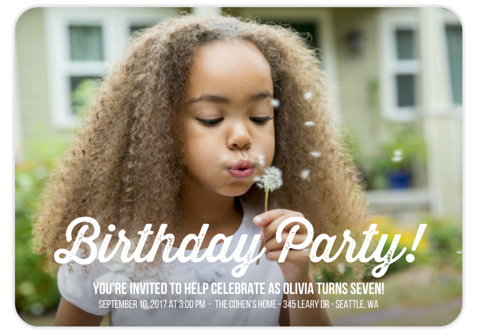 birthday party typography modern invitation