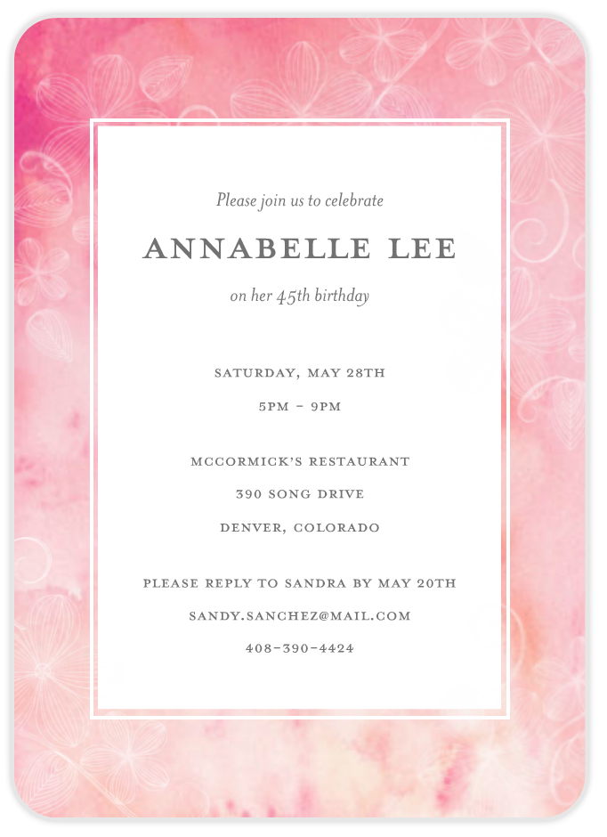 floral over watercolor birthday invite invitation