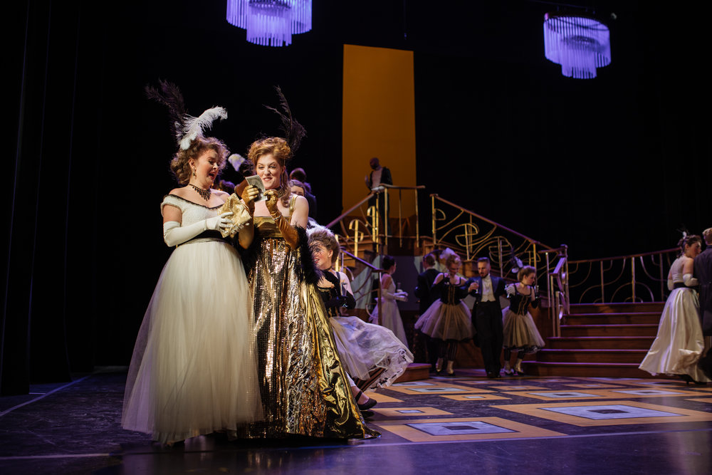 Gina as Adelle in  Die Fledermaus  with Opera McGill in 2017. (Jacoba Barber-Rozema as Ida) Photo: Tam Lan Truong tamphotography.net