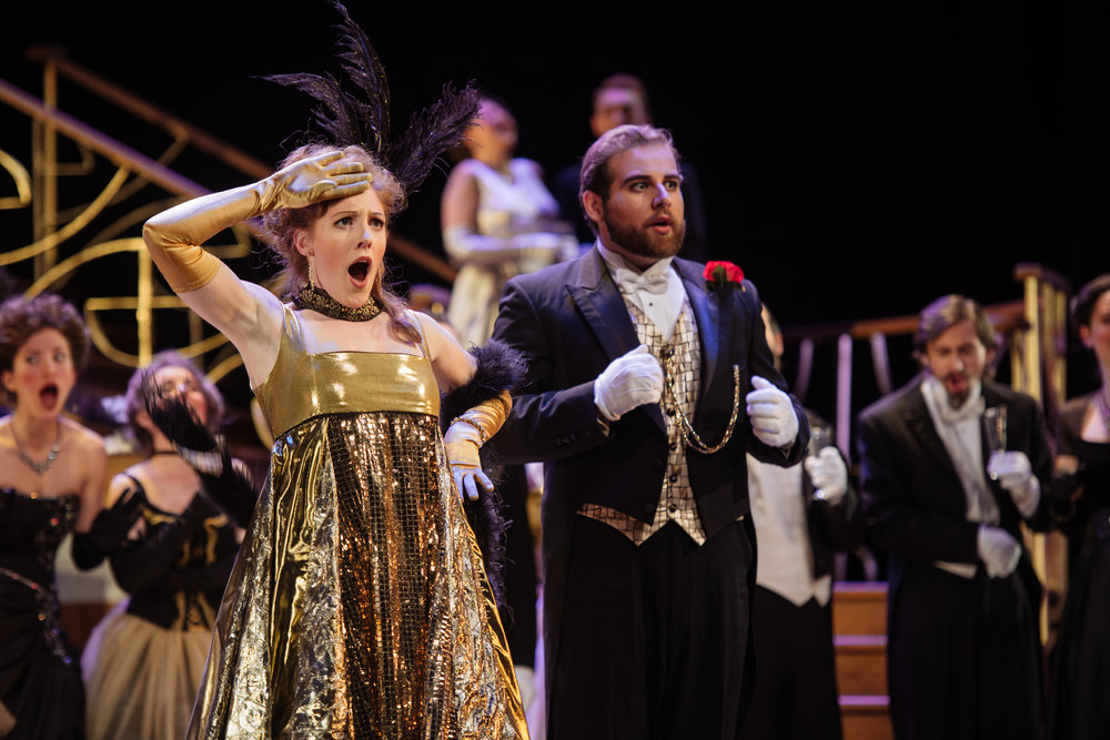 Gina as Adelle in  Die Fledermaus  with Opera McGill in 2017. (Jonah Spungin as Eisenstein) Photo: Tam Lan Truong tamphotography.net