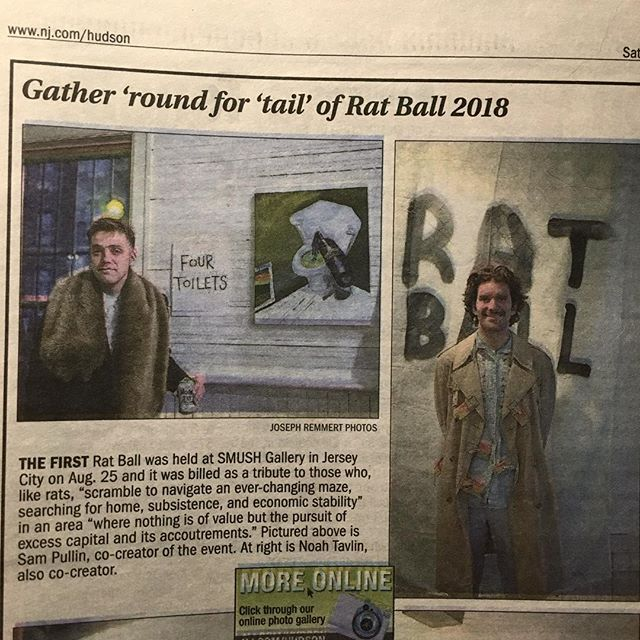 """Four Toilets""! Rat Ball strikes again! 🐀 (Many thanks to David Menzies and @joe_joetheoboe at the Jersey Journal 🐀)"