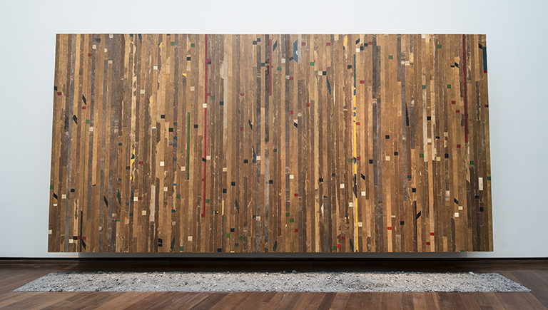Theaster Gates, A Game of My Own, 2017, wood, paint, black stain, Alabama ball clay. (Image courtesy Theaster Gates, White Cube and Regen Projects/National Gallery of Art)