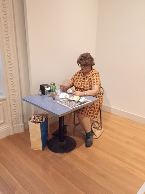 """Woman Eating,Duane Hanson, polyester resin polychromed in oil paint with clothes and accessories, 50 x 30 x 55"""", (1971), Smithsonian American Art Museum"""