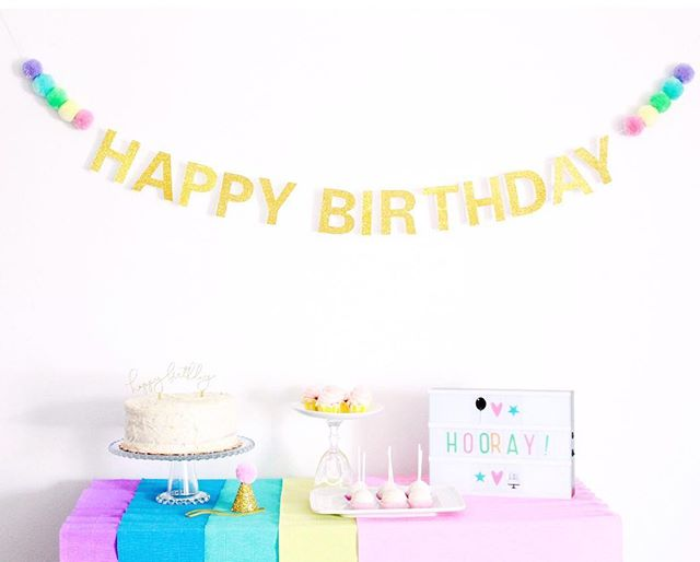 Our Happy Birthday banner with the most adorable pom poms is designed to re-use over and over for unicorn, ice cream, rainbow, and mermaid themed parties unicorns 🦄 🍦 🌈 💦
