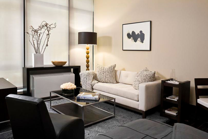 Setai NY Shown: Hudson Sofa, Wooster Cocktail Table, Nolita Chair