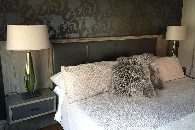 Shelly LeBoff Interiors - Design 25 Shown: Custom Chelsea Headboard, Floating Arte Shelves