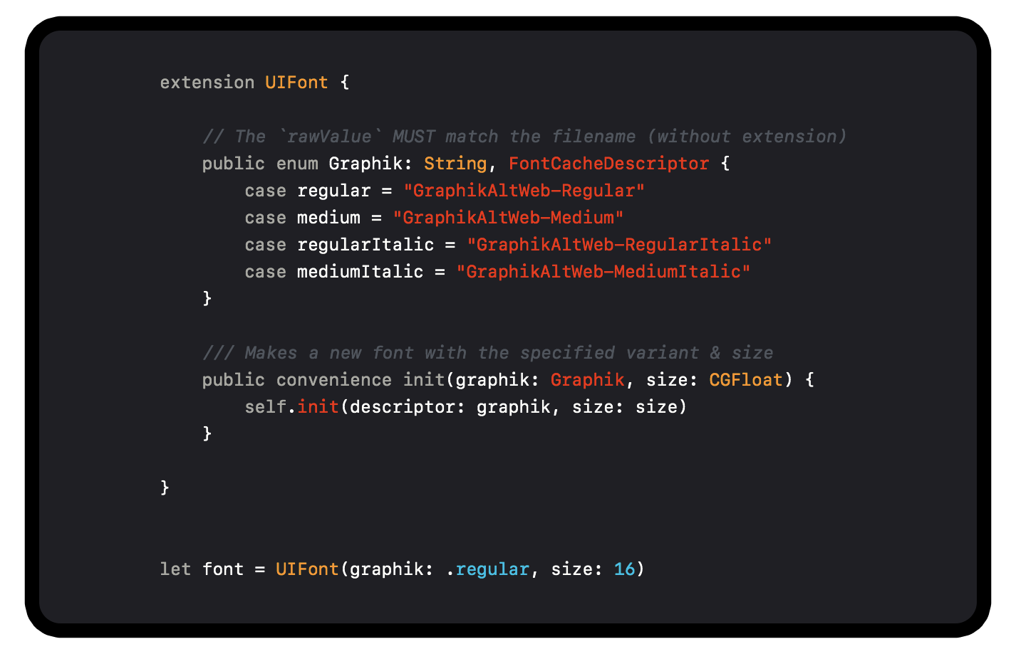 Clean dynamic font API in Swift — one fifty two