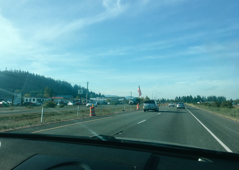 Crossed the CAN/USA border and immediately saw a HUGE American flag