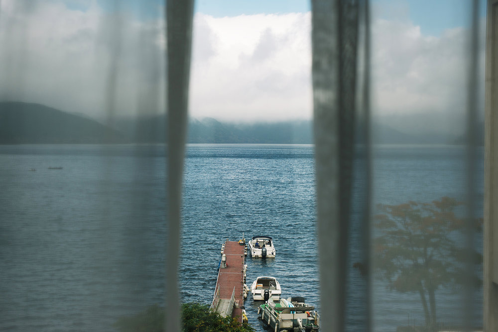 View from our room, overlooking Lake Ashi in Hakone.