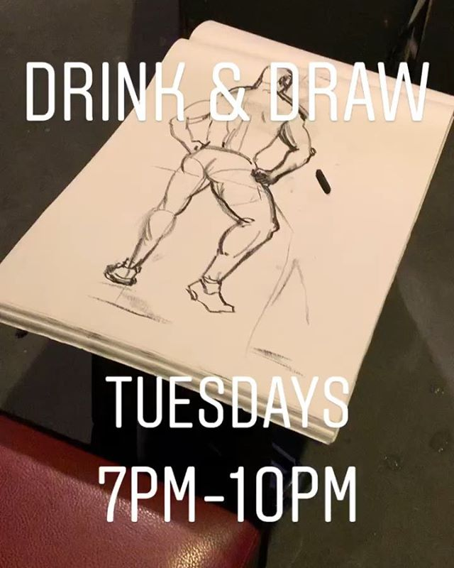 Drink & Draw 😍🍸✍🏻💪🏻Every Tuesday 7 pm  #drinkanddraw #hot #drawing #drinking #gay #gaylife #gaymen #gaynyc #rebarchelsea #hotman #muscles #hot #handsome #hot #hotguys @rgbphotos @derek.chase.9406