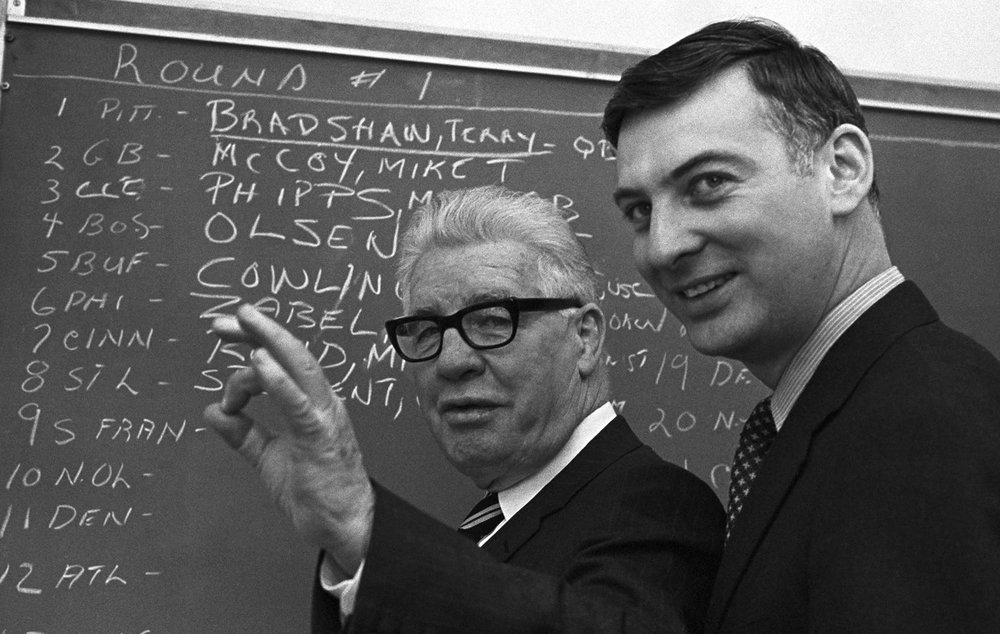 Art Rooney and his son Dan preparing for what would be a historic draft.