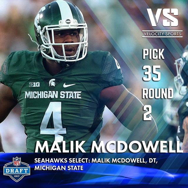 Seahawks select: Malik McDowell, DT, Michigan State .. .. .. #DraftDay #NFL #NFLdraft #NFLdraft2017 #Football  #Sports #VelocitySports  #Seahawks  #MichiganState #Seattle #SeattleSeahawks #spartans #michiganstatefootball