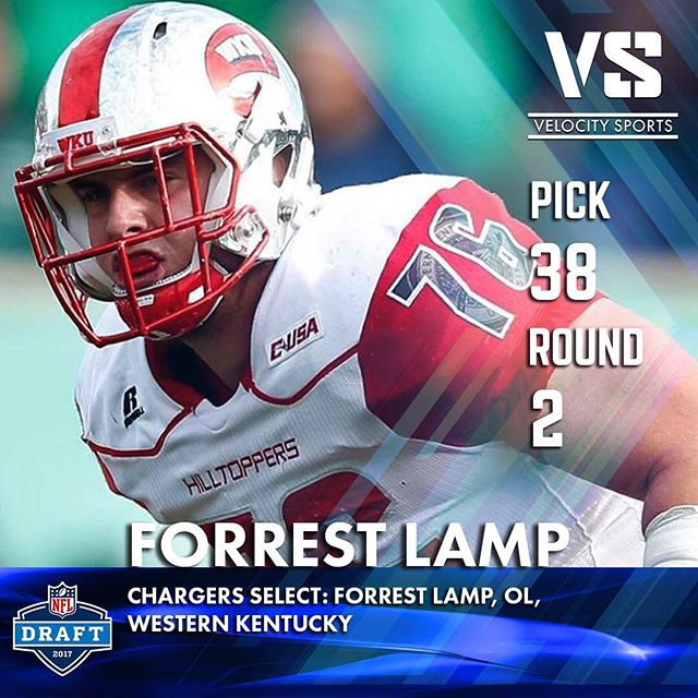 Chargers select: Forrest Lamp, OL, Western Kentucky .. .. .. #DraftDay #NFL #NFLdraft #NFLdraft2017 #Football  #Sports #VelocitySports #collegefootball #Chargers #LAChargers #LosAngelesChargers #FightForLA #WesternKentucky #WKentucky #WesternKentuckyUniversity #Hilltoppers #WKUFootball #ThePursuit17 #WKU #GoTops #ProTops #TopperTakeover