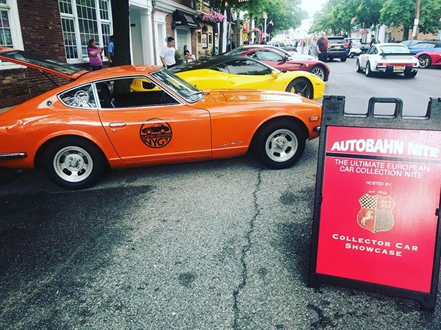 Porsche's, Ferrari's,Aston Martins, Mclarens, Maseratis. . And our Z. Stop by and say hello tonight at #autobahnnight in Oyster Bay. . . . Drive #sexylittlecars @sundaydriversnygt #nycdaytrip #corporateevents #incentive #northforkliving #montauk #northfork #hamptons #hamptonsstyle #driveme
