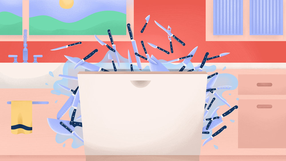 "Illustration for The Takeout article,  ""Should you ever wash sharp knives in the dishwasher?"""