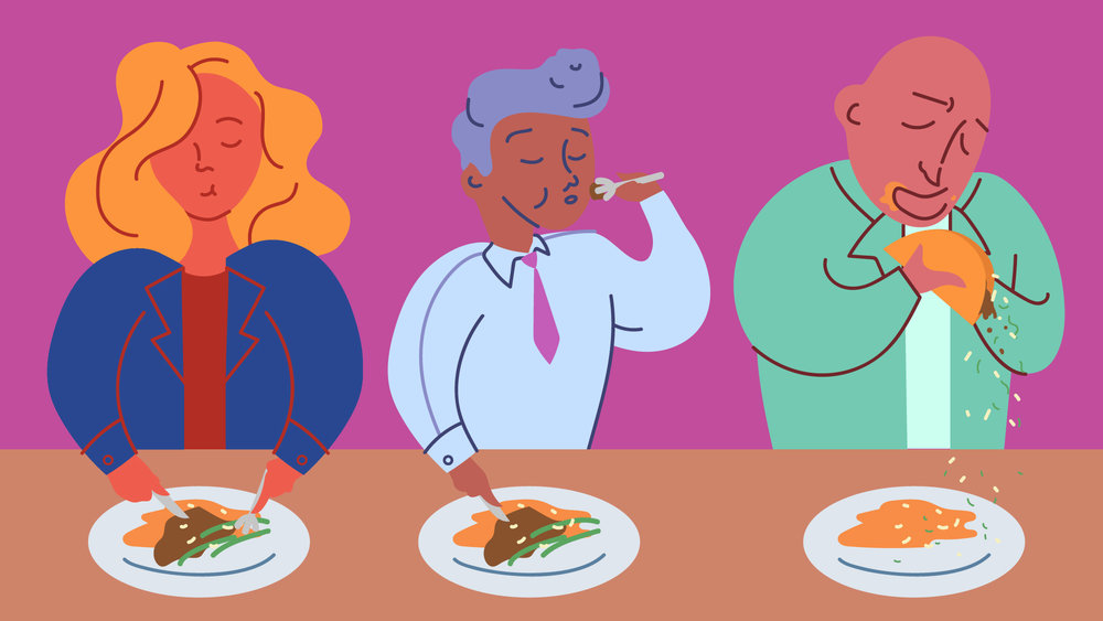 "Illustration for The Takeout article,  ""How do food TV hosts eat gracefully on camera?"""