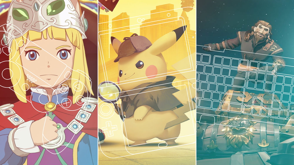 "Graphic for  The A.V. Club  article,  ""From hellish horror to talking Pikachus: 11 games to look out for in March"""