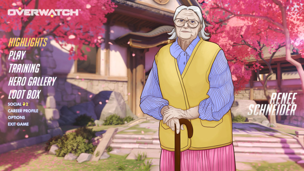 "Illustration for  Clickhole  article, ""Hardcore Gamers Only: 'Overwatch' Is Increasing Its Difficulty By Adding A Senior-Citizen Character That's A Financial Drain And Emotional Burden On Their Whole Team"""