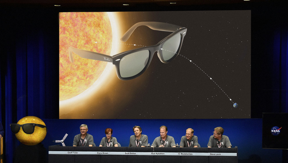 "Photoshop composite for  The Onion  article,  ""NASA Announces Plans To Place Giant Pair Of Shades On Sun"""