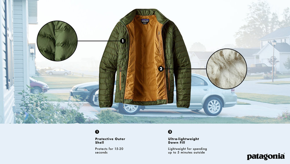 "Photoshop composite for  The Onion  article,  ""  Patagonia Introduces New High-Performance Jacket Specially Designed To Protect Wearer On Walk Between Front Door And Car  """