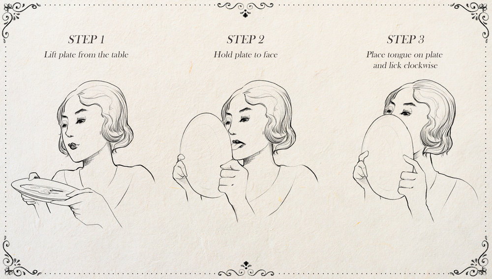 "Illustration for The Onion article,  ""   New Edition Of Emily Post's Etiquette Book To Include Chapter Demonstrating Proper Way To Lick Maple Syrup Off Plate   """