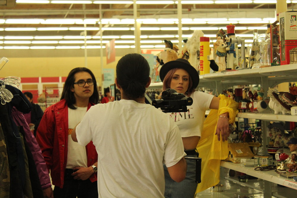 Videographer  Michael Schuette  directing models Rafael Lopez and Emma Goddard