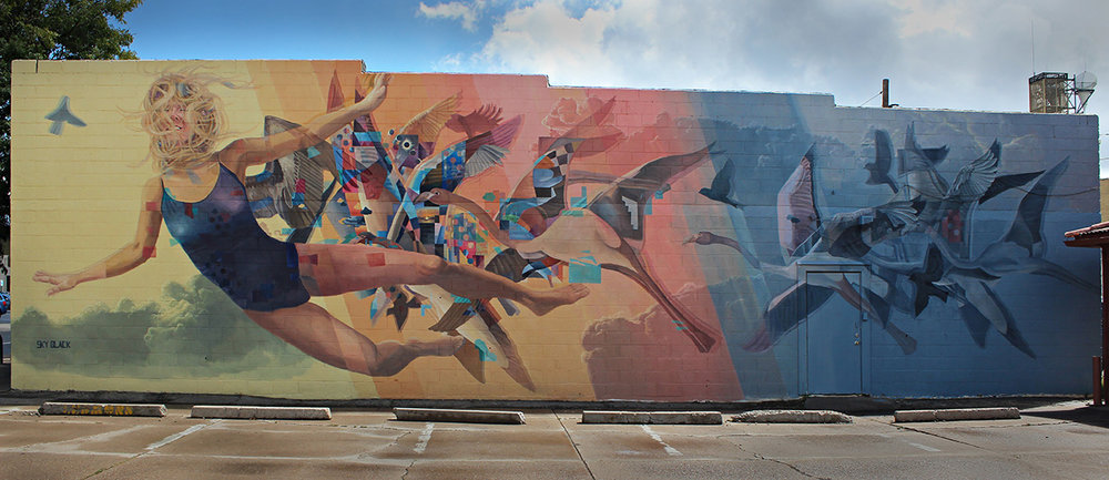 Learning to Fly (2017) - Sky Black - Mural in Flagstaff, AZ - Photo from  skyblackart.com