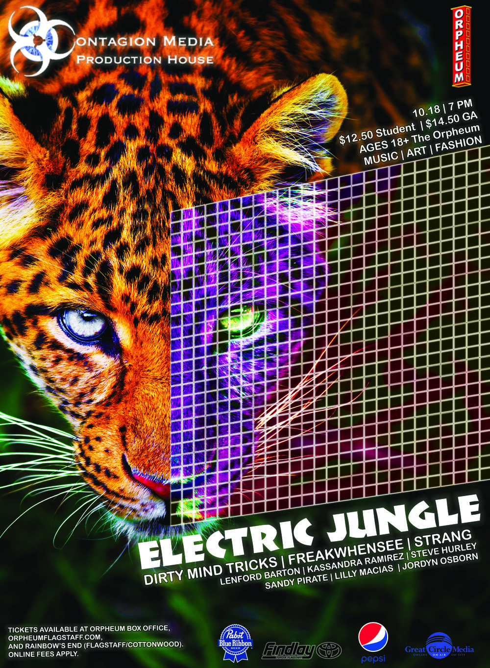 Electric Jungle Official Poster - Design by Hannah Rose