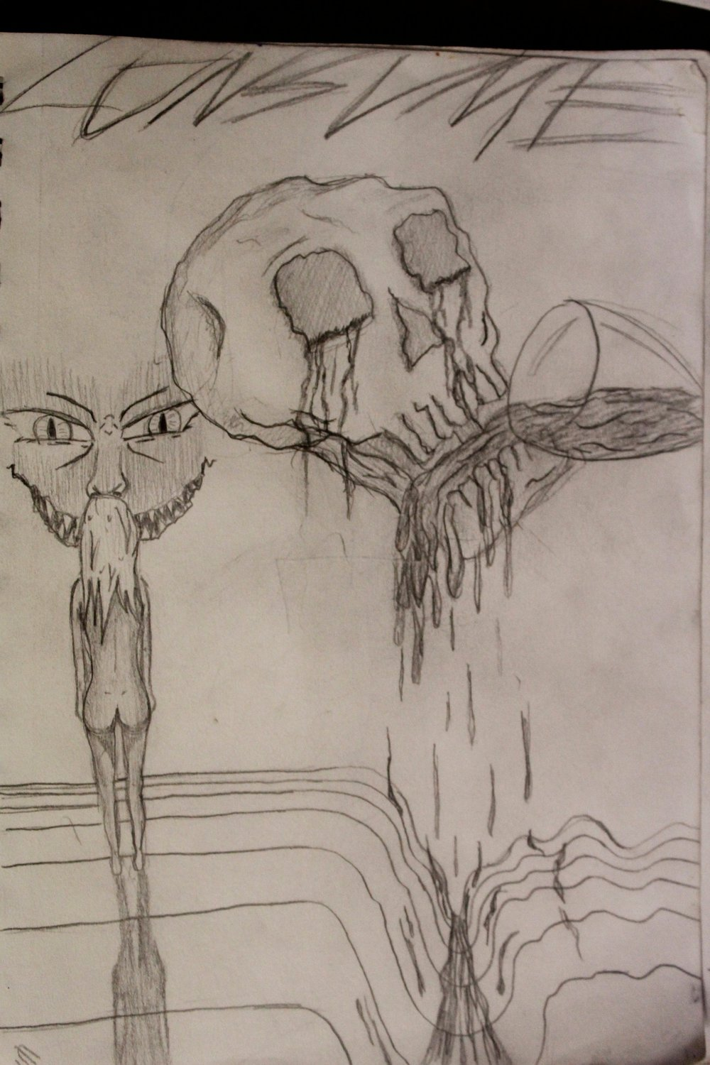The evil in society in one picture. The skull drinking himself to death is me
