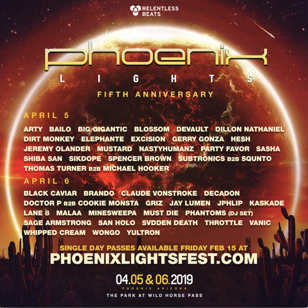 Official Lineup by Day - Phoenix Lights 2019