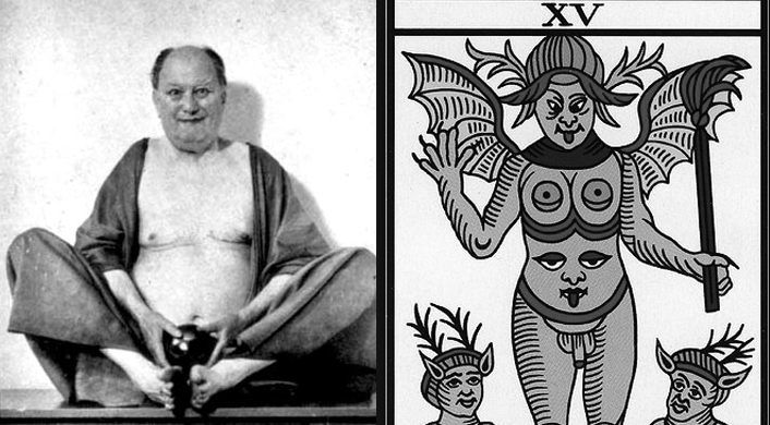 Aleister Crowley with the Devil Tarot Card