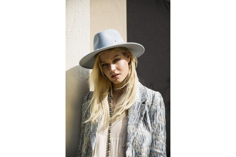Maison Michel hat,H&M coat, Lillian Shalom necklace