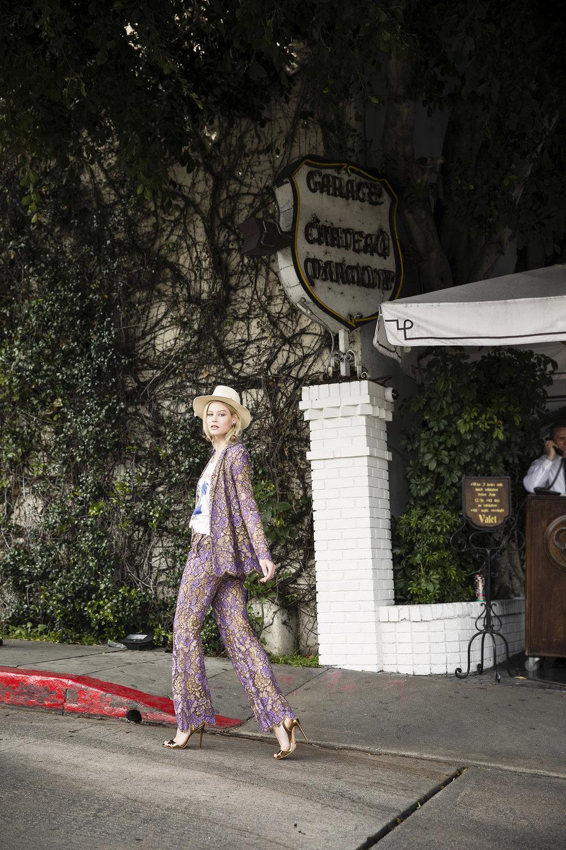 Maison Michel hat, Junk Food t-shirt ,TwinSet blazer and pants,Schutz shoes, Erickson Beamon Earrings,Sydney Evan rings