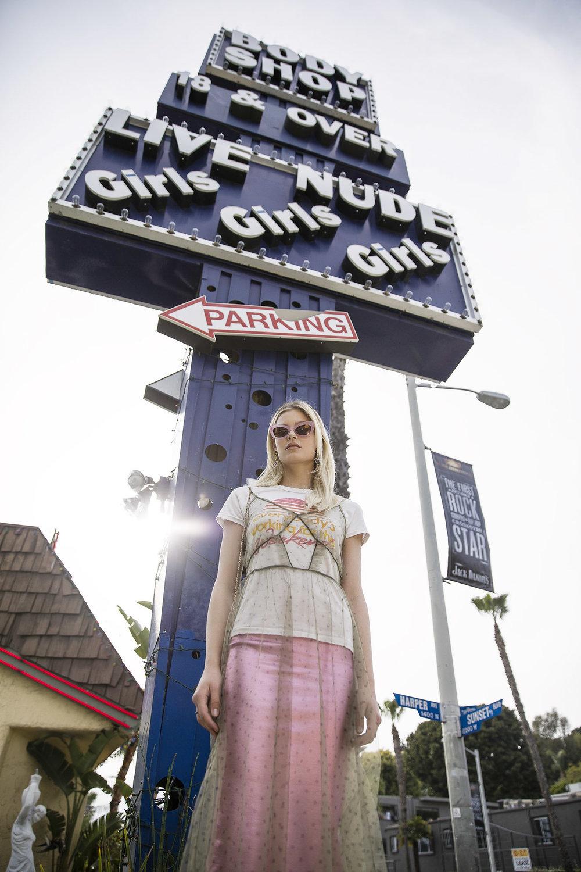 Junk Food t-Shirt, H&M Dress and Skirt,Erickson Beamon earrings, Tenoversix sunglasses, Emm Kuo purse