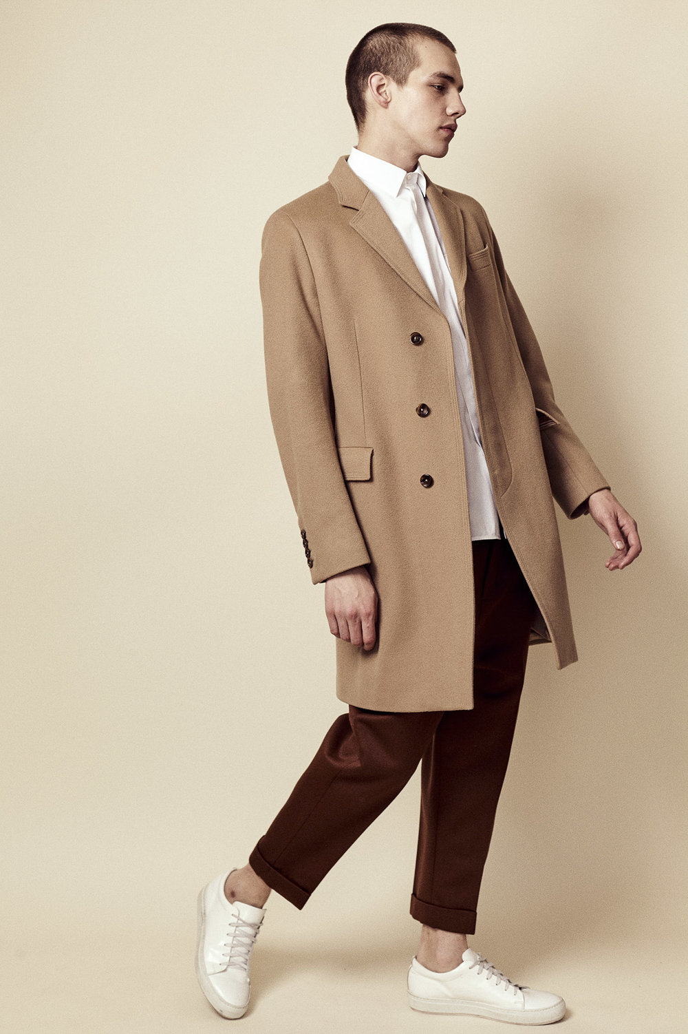 Gucci Camel overcoat, Neil Barrett shirt, Ami Paris trousers, Acne shoes