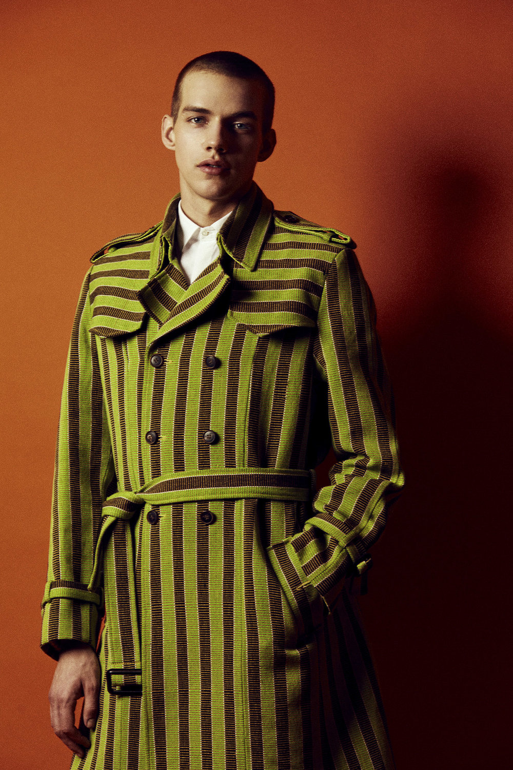 Stella Jean Green striped trench coat, Neil Barrett white shirt