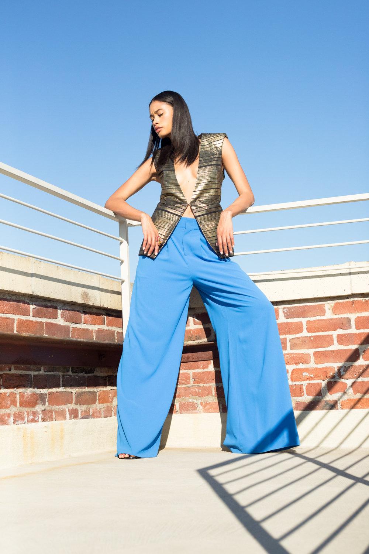 Balmain gold vest, Alice & Olivia blue silk trousers