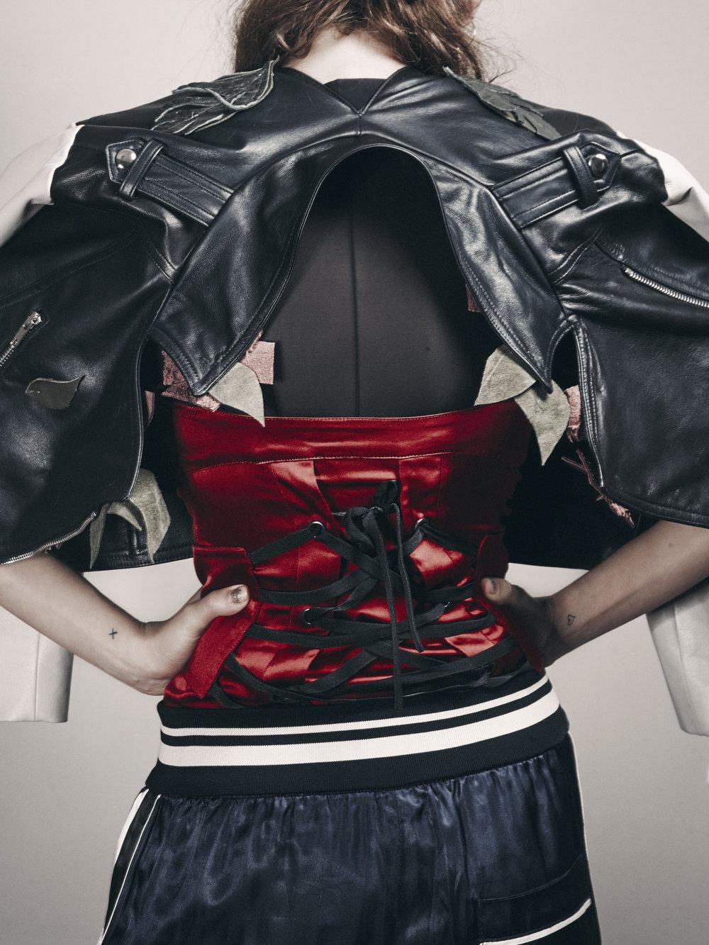 ARMATURE split back leather jacket,DSTM shear t-shirt, Murmur corset